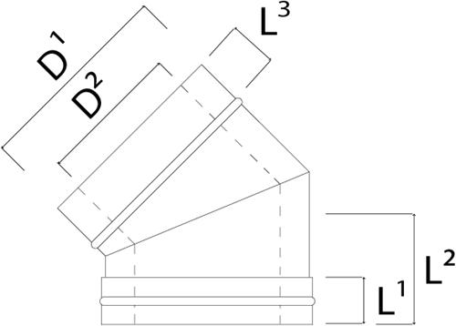 Concentrische diameter  130 - 200 mm bocht 45 gr I316L/I304 (D0,5/0,6)-2