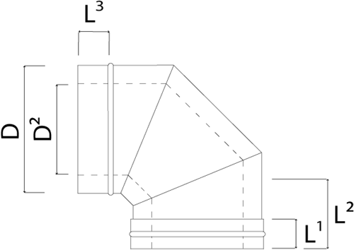 Concentrische diameter  80 - 125 mm bocht 90 gr I316L/I304 (D0,5/0,6)-2