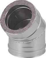 DW diameter  130 mm (130/180) bocht 45 gr I316L/I304 (D0,5/0,6)