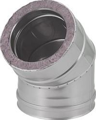 DW Ø 130 mm (130/180) bocht 45 gr I316L/I304 (D0,5/0,6)