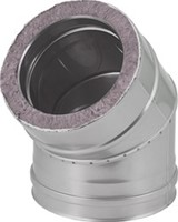 DW diameter  150 mm (150/200) bocht 45 gr I316L/I304 (D0,5/0,6)