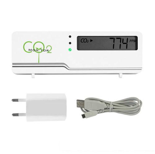 CO2 meter - air indicator compact inclusief temperatuur weergave + gratis stekker