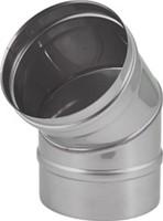 Kachelpijp Ø 130 mm RVS enkelwandige bocht 45°