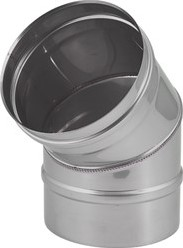 Kachelpijp Ø 300 mm RVS enkelwandige bocht 45°