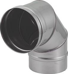 Kachelpijp Ø 130 mm RVS enkelwandige bocht 90°