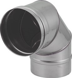 Kachelpijp Ø 350 mm RVS enkelwandige bocht 90°
