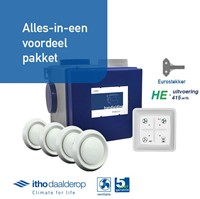 Itho alles-in-een pakket euro stekker - Itho cve HE 415m3/h + rft bediening + 4 ventielen-1
