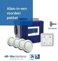 Itho alles-in-een pakket euro stekker - Itho cve SE 325m3/h + rft bediening + 4 ventielen