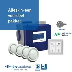 Itho alles-in-een pakket perilex stekker - Itho cve HP 415m3/h + rft bediening + 4 ventielen