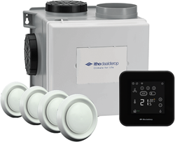 Itho Daalderop CVE-S eco fan ventilator box alles-in-1 pakket SEI 325m3/h + vochtsensor + RFT spider base + 4 ventielen - euro stekker