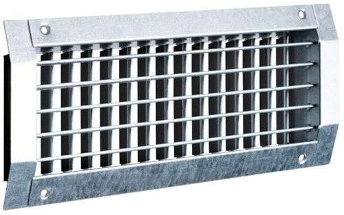 Kanaalrooster met dubbel instelbare schoepen voor spirobuis C2 - 525x75