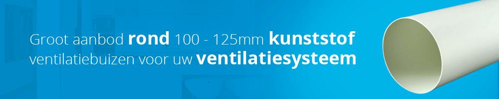 Ventilatieland heeft een groot assortiment kunststof ventilatiebuizen in diameter 100 en 125 mm