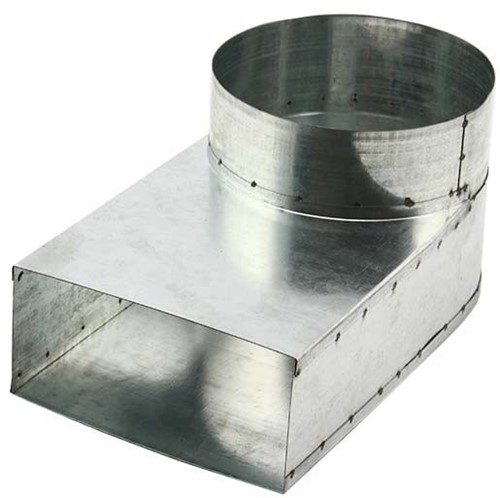 Lepe hoekstuk 165x80 - Ø150mm tbv instortkanaal