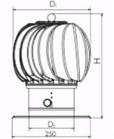 Windgedreven dakventilator Cowl 200 mm RVS inclusief plakplaat - 115m3/h-2