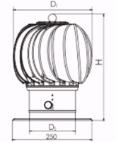 Windgedreven dakventilator Cowl 150 mm RVS inclusief plakplaat - 65m3/h-2