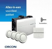 Orcon alles-in-een pakket randaarde stekker MVS 15RHB 520m3/h + vochtsensor + rft bediening + 4 ventielen-1