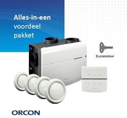 Orcon alles-in-een pakket randaarde stekker MVS 15RHB 520m3/h + vochtsensor + rft bediening + 4 ventielen