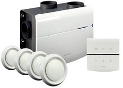 Orcon alles-in-een pakket perilex stekker MVS 15RP 520m3/h + rft bediening + 4 ventielen