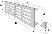 Plintrooster aluminium - goud L=500mm x H=80mm -RA850G-2