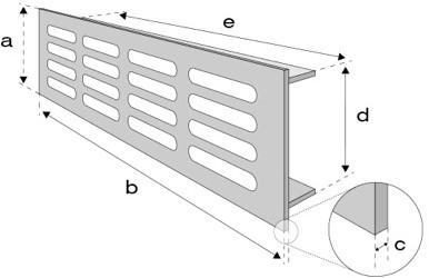 Plintrooster aluminium - zilver L=400mm x H=60mm -RA640S-2