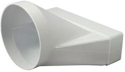 Rechthoekig kunststof verloop Ø125mm - 220X55mm - KSD25-125