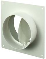 Ronde kunststof muurplaat met terugslagklep diameter: 125mm - AFV125-1