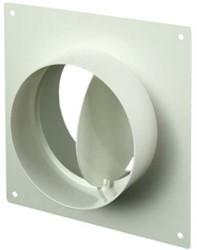 Ronde kunststof muurplaat met terugslagklep diameter: 125mm - AFV125