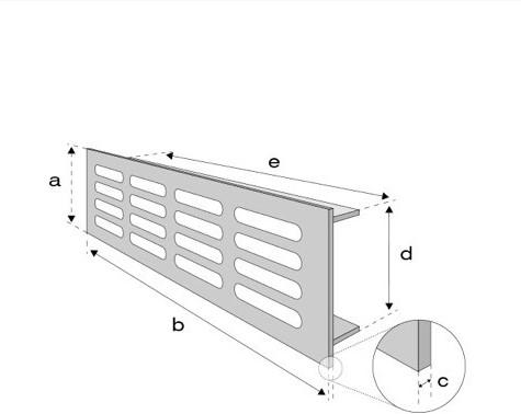Plintrooster aluminium - zilver L=500mm x H=120mm - RA1250S