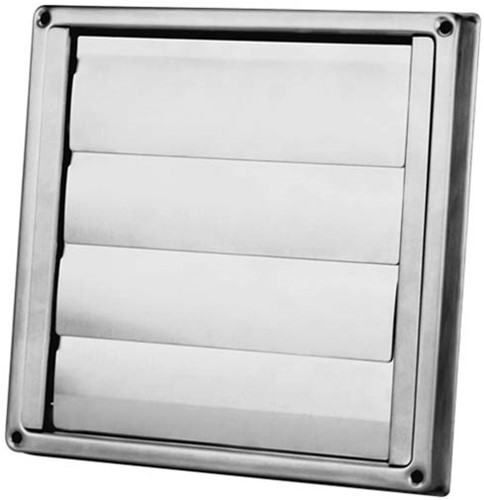 RVS gevelrooster Ø 100 mm met beweegbare lamellen (hoge doorlaat) - D5100100