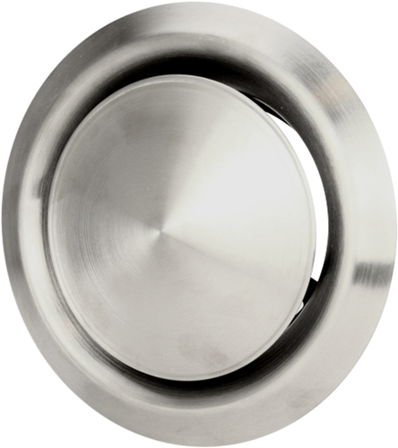 RVS ventilatie toevoer en afvoer ventiel Ø 100 mm met montagebus - DVI100