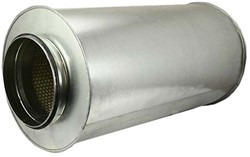 Ronde geluiddemper diameter  400 mm - L=600 mm (sendz. verz.) (50 mm iso)