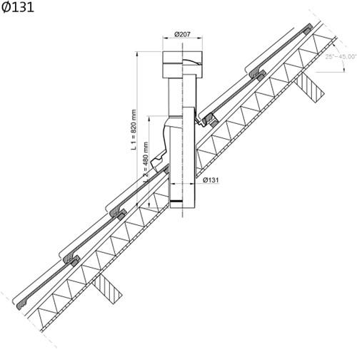 Ubbink Ventub dakdoorvoer Ø131mm (zonder schaal)-2
