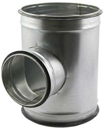 T-stuk diameter Ø 180mm met aftakking naar  Ø 160 mm tbv spiro buis (90 graden)