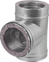 DW Ø 250 mm (250/300) T-stuk T90 I316L/I304 (D0,5/0,6)