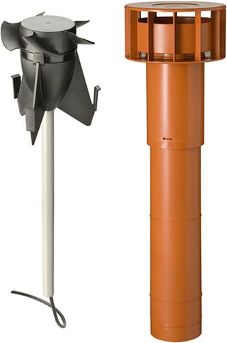Combinatiepakket Ubbink Hybride ventilator + Multivent dakdoorvoer terracotta - lengte 750mm