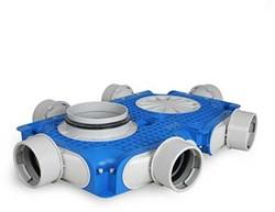 Uniflexplus ventilatie hoofdverdeelbox 6x Ø90mm met tuit Ø180mm