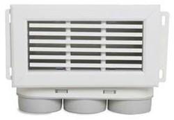 Uniflexplus ventilatie muurcollector met vaste lamellen en een bovenaansluiting Ø 63 mm
