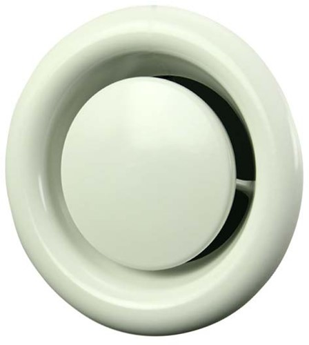 Ventilatie afvoer ventiel metaal Ø 100 mm wit met klemveren - DVSC100