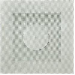 Vierkant rooster geperforeerd 125 mm voor systeemplafond - bovenaansluiting