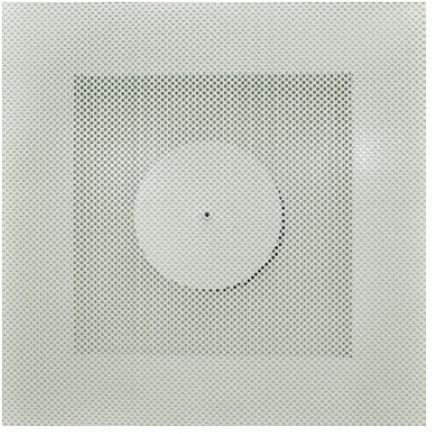 Vierkant rooster geperforeerd 250 mm voor systeemplafond - bovenaansluiting