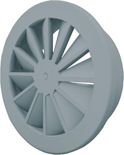 Wervelrooster 200 mm met schroefbevestiging en bovenaansluiting van 160 mm - mengkleur RAL 7001