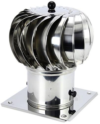 Windgedreven dakventilator Cowl 200 mm RVS inclusief plakplaat - 115m3/h