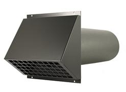 WTW HR Aluminium geveldoorvoer Ø125mm Zwart inclusief buis