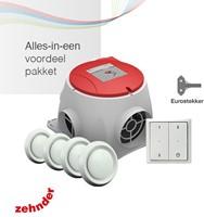 Zehnder Stork alles-in-een pakket Comfofan S R ventilator euro stekker + RFT zender + 4 ventielen-1